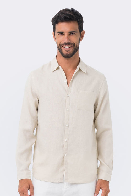 By The Sea Bali Men Linen Shirt L/S Cream