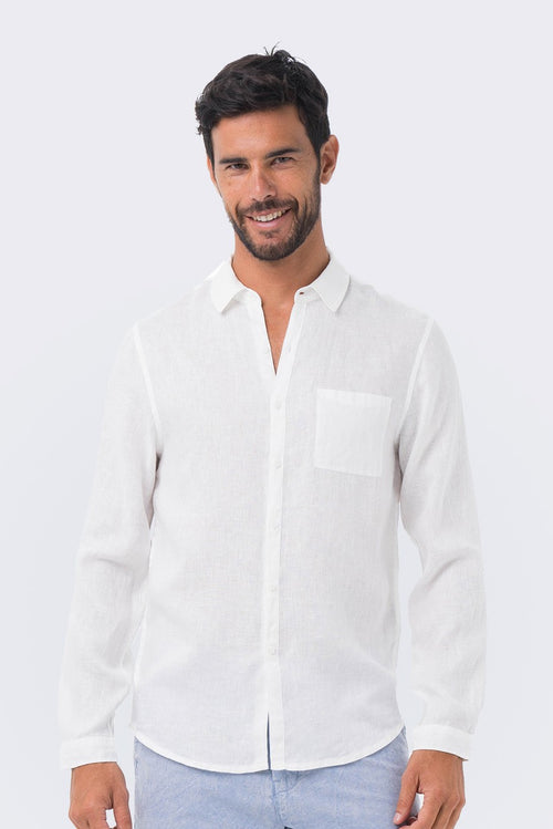 By The Sea Bali Men Linen Shirt L/S White