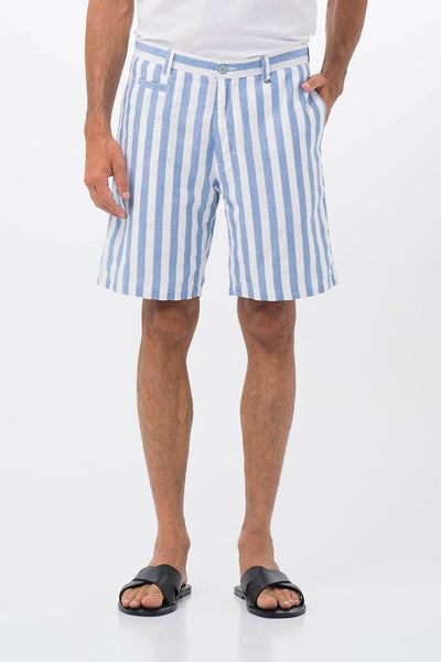 By The Sea Bali Men's Stripe Linen Bermuda