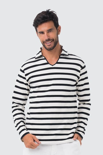 By The Sea Bali Men's Sweater Cotton Shirt Off White