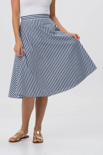 By The Sea Bali Midi Stripe Skirt Navy