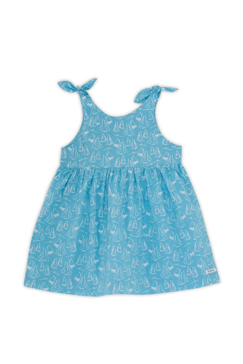 By The Sea Bali Molly Tie Dress Blue Sailboat