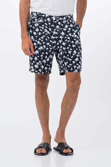 By The Sea Bali Palm Linen Bermuda Navy