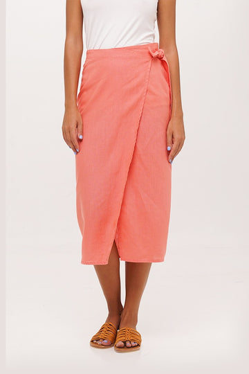 By The Sea Bali Kofiau Linen Wrap Skirt