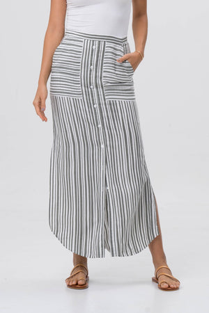 By The Sea Bali Stripe Maxi Skirt