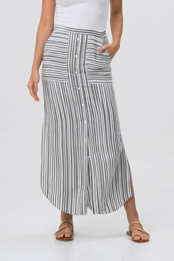 Stripe Maxi Skirt Grey