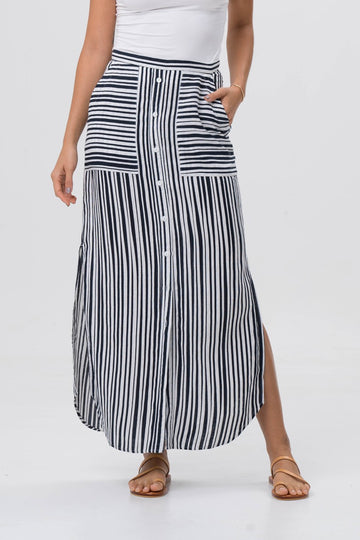 Stripe Maxi Skirt Navy