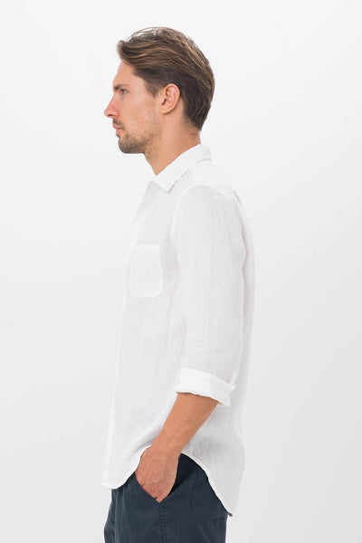 Syros Linen Slim Fit L/S Shirt White