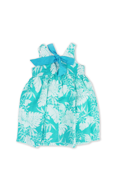 Kids Linen Lace Back Dress Torquoise - By The Sea Bali
