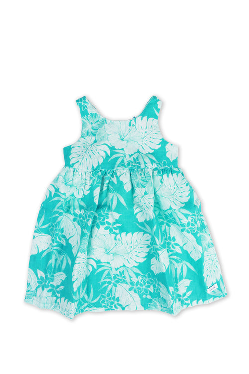 Kids Linen Lace Back Dress Torquoise