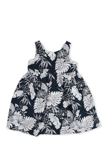 By The Sea Bali Kids Linen Lace Back Dress Navy