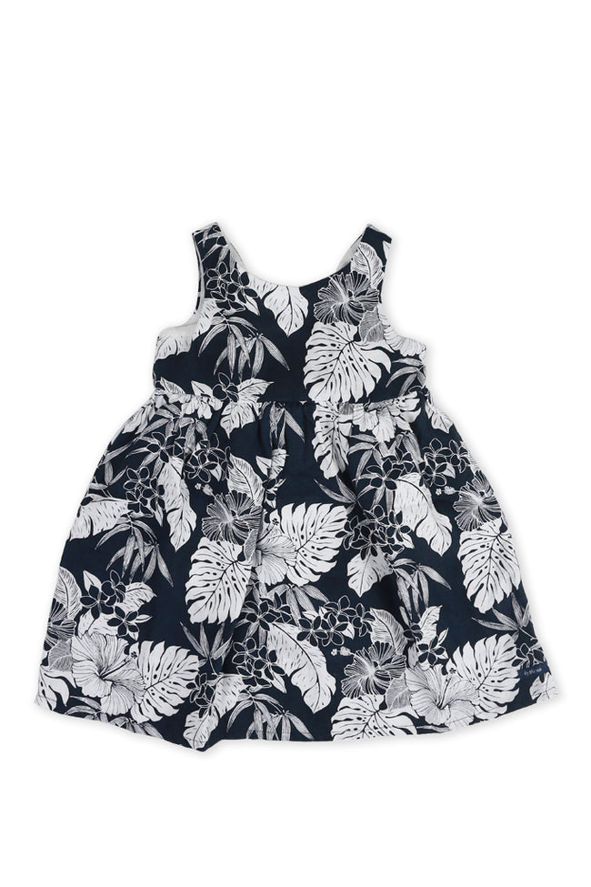 Kids Linen Lace Back Dress Navy