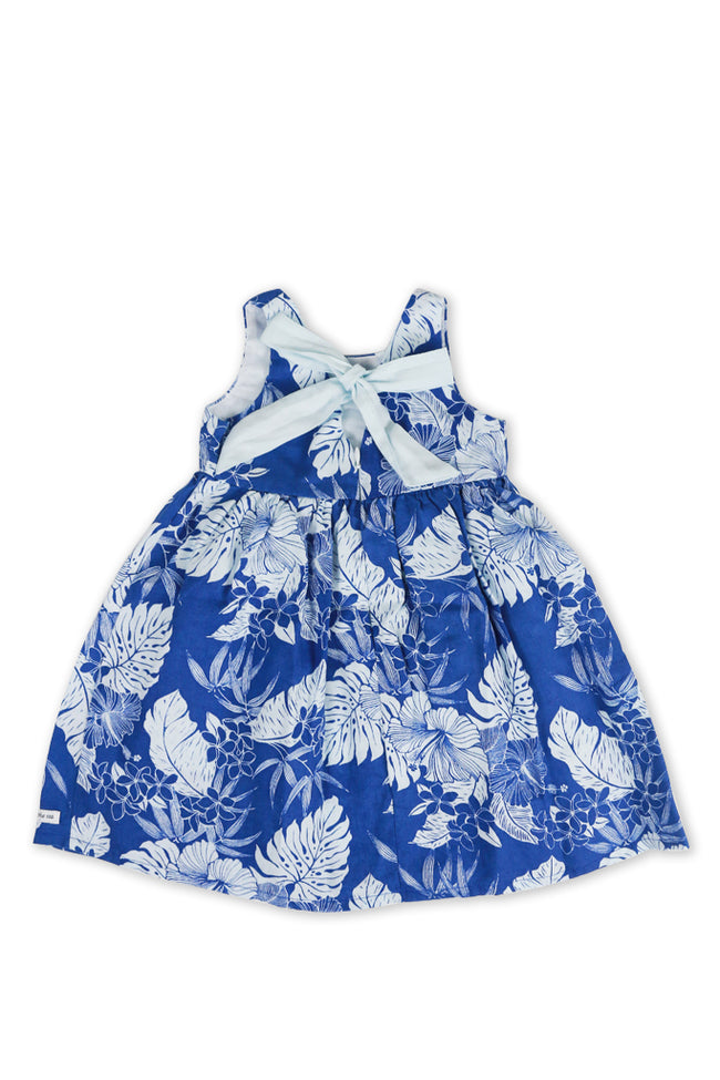 Kids Linen Lace Back Dress Blue