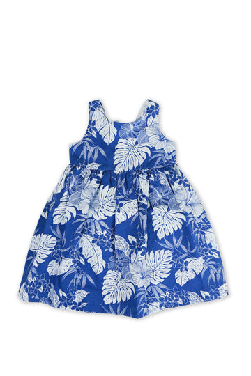 By The Sea Bali Kids Linen Lace Back Dress Blue