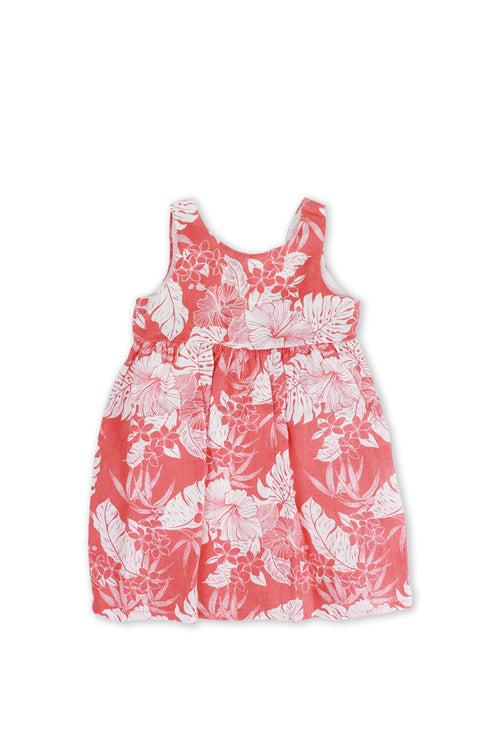 Kids Linen Lace Back Dress Coral