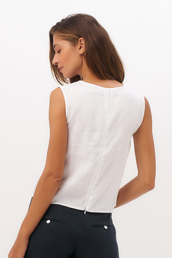 By The Sea Bali Saleo Linen Crop Top