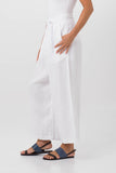 Linen Wrap Crop Pants White