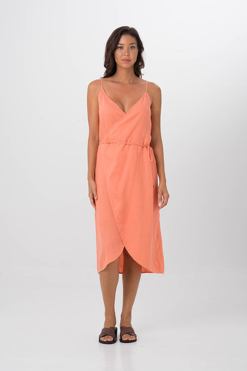 By The Sea Bali Kyoto Linen Dress Orange