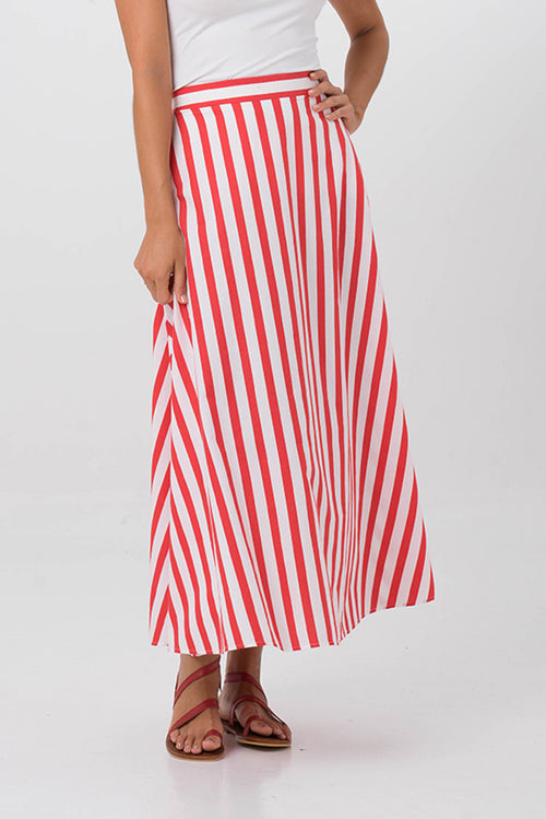 Maxi Stripe Skirt Red - By The Sea Bali