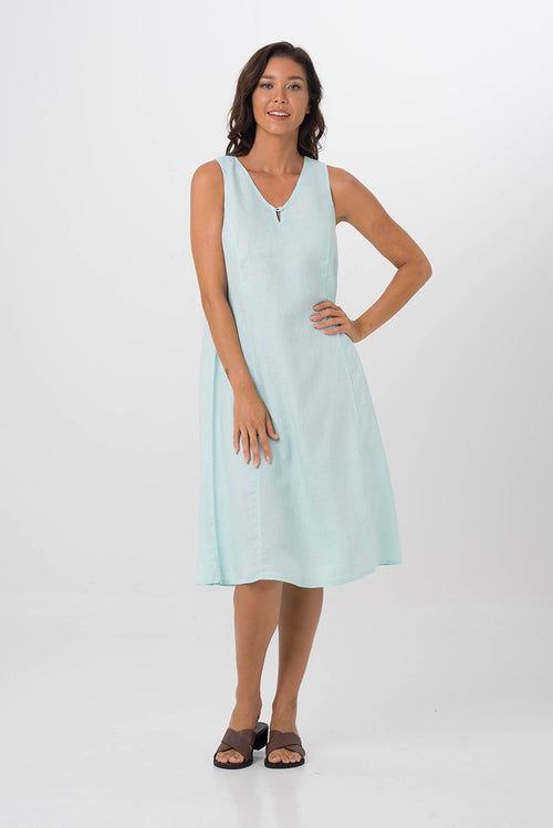 By The Sea Bali Linen Princess Cut Midi Dress Green