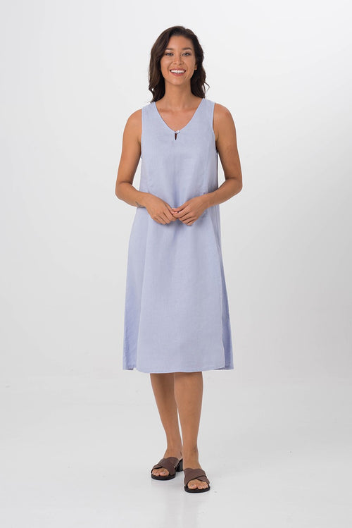 By The Sea Bali Linen Princess Cut Midi Dress Blue