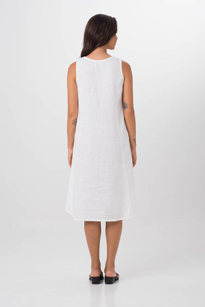 By The Sea Bali Linen Princess Cut Midi Dress White