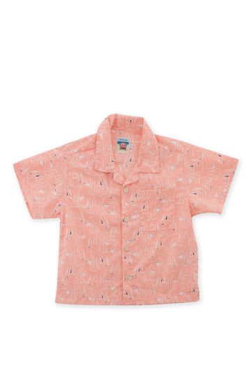 By The Sea Bali Bali Tropical Shirt S/S Orange Sailboat