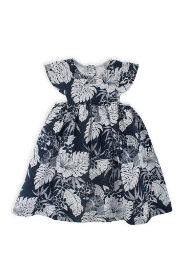 By The Sea Bali Linen Kids Dress Navy