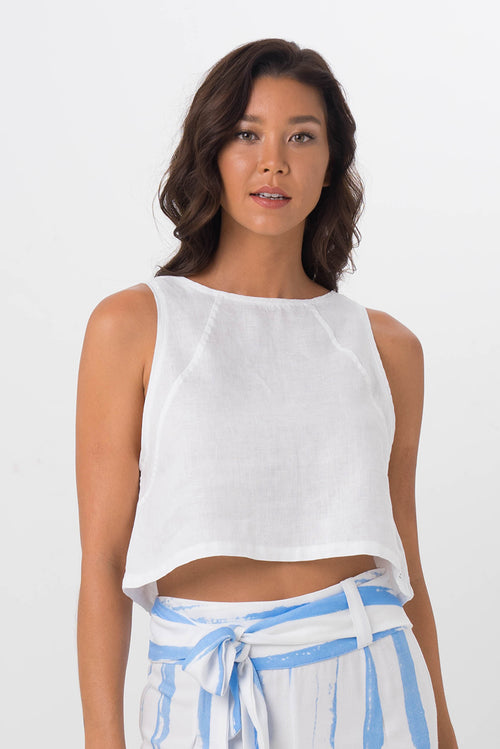Julia Linen Crop Top White - By The Sea Bali
