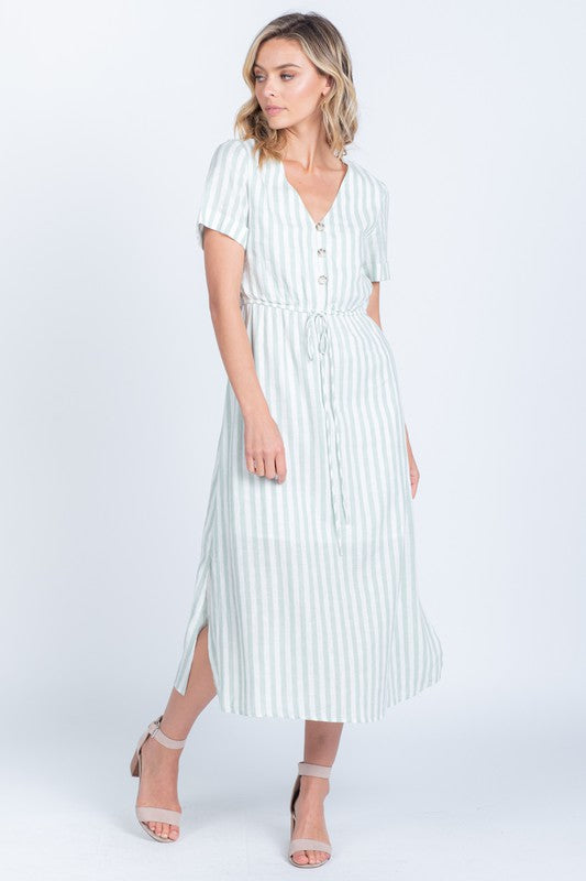 Cassie Mint Striped Dress - The Darling Style - Modest Dresses