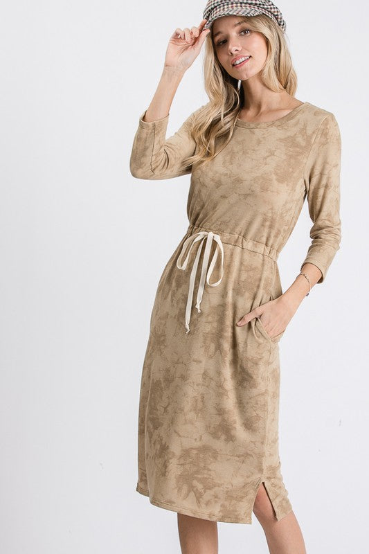 Emily Tie Dye Jogger Dress - Honey Mustard - The Darling Style - Modest Dresses
