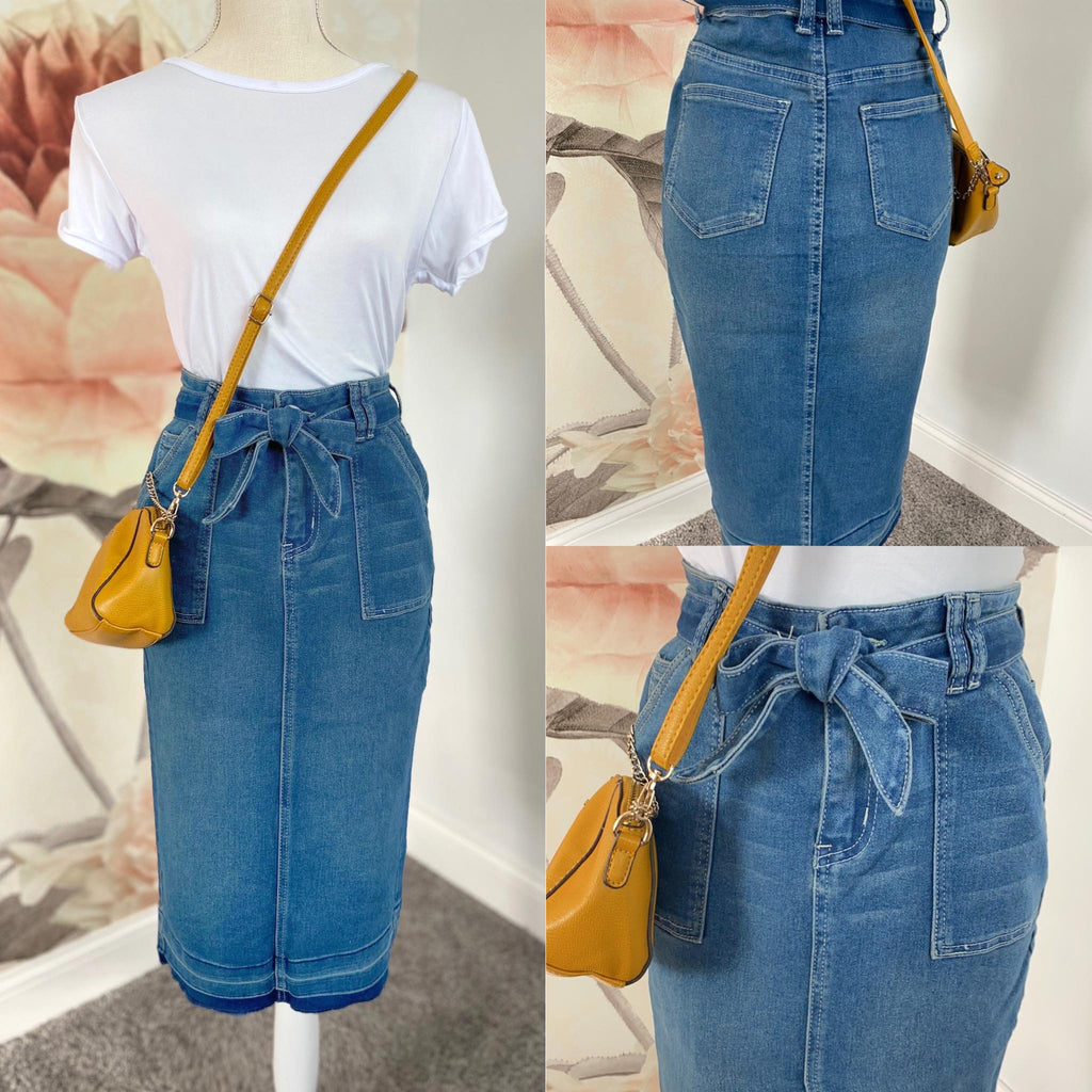 Elle Vintage Denim Bow Tie Skirt