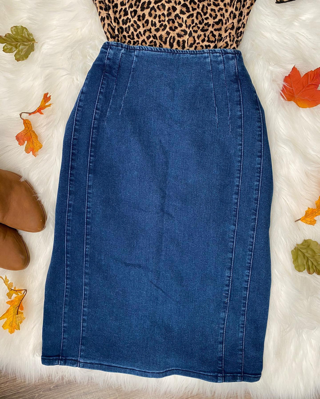 Cara Denim Pencil Skirt