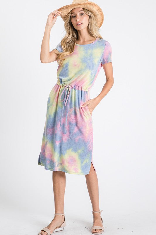 Indigo Blue Tie Dye Drawstring Dress - The Darling Style - Modest Dresses