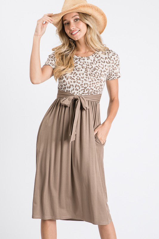 Mocha Animal Print Tie Front Dress - The Darling Style - Modest Dresses