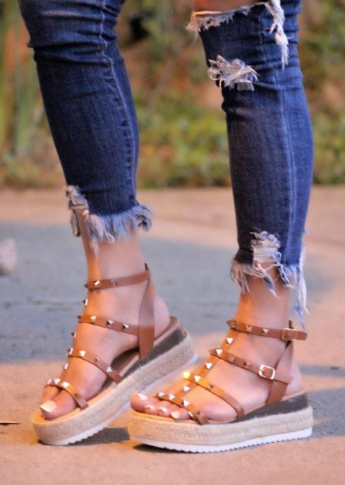 Always Loved Studded Sandals - Tan Color - The Darling Style - Modest Dresses