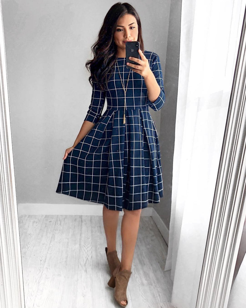 The Timeless Grid Dress - Navy