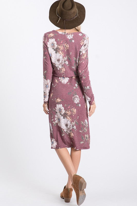 Mel Floral Drawstring Dress - Burgundy - The Darling Style - Modest Dresses