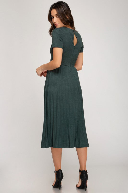 Giana Solid Pleated Suede Dress - Hunter Green - The Darling Style - Modest Dresses