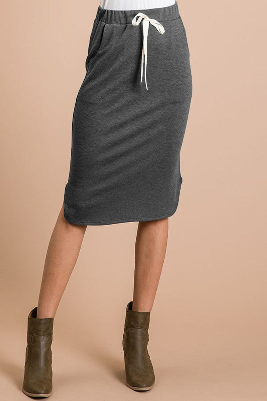 Charcoal Elastic Waist Midi Skirt - The Darling Style - Modest Dresses