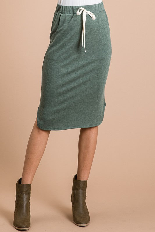 Zoe Comfy Skirt - Olive - The Darling Style - Modest Dresses