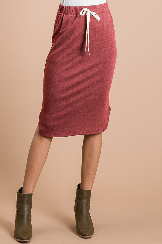 Zoe Comfy Skirt - Burgundy - The Darling Style - Modest Dresses