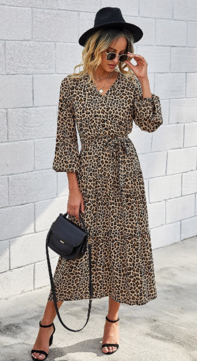 Eliza Leopard Tiered Dress - The Darling Style - Modest Dresses