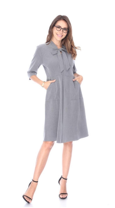 Boss Babe Pin Striped Dress - The Darling Style - Modest Dresses