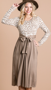 Animal Print Tie Dress in Mocha Latte - The Darling Style - Modest Dresses