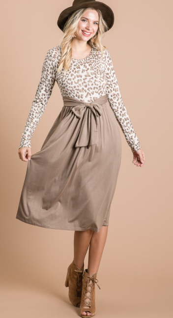 Animal Print Tie Front Dress in Mocha - The Darling Style - Modest Dresses