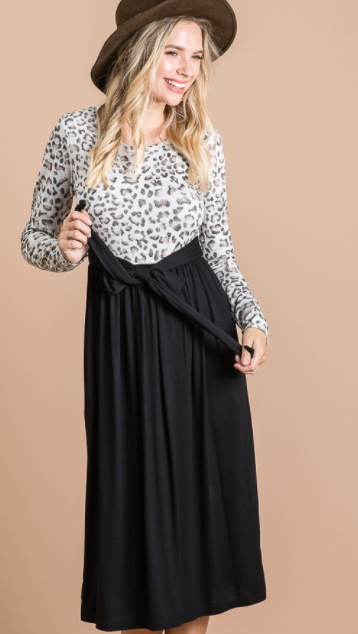 Animal Print Tie Front Dress in Black - The Darling Style - Modest Dresses