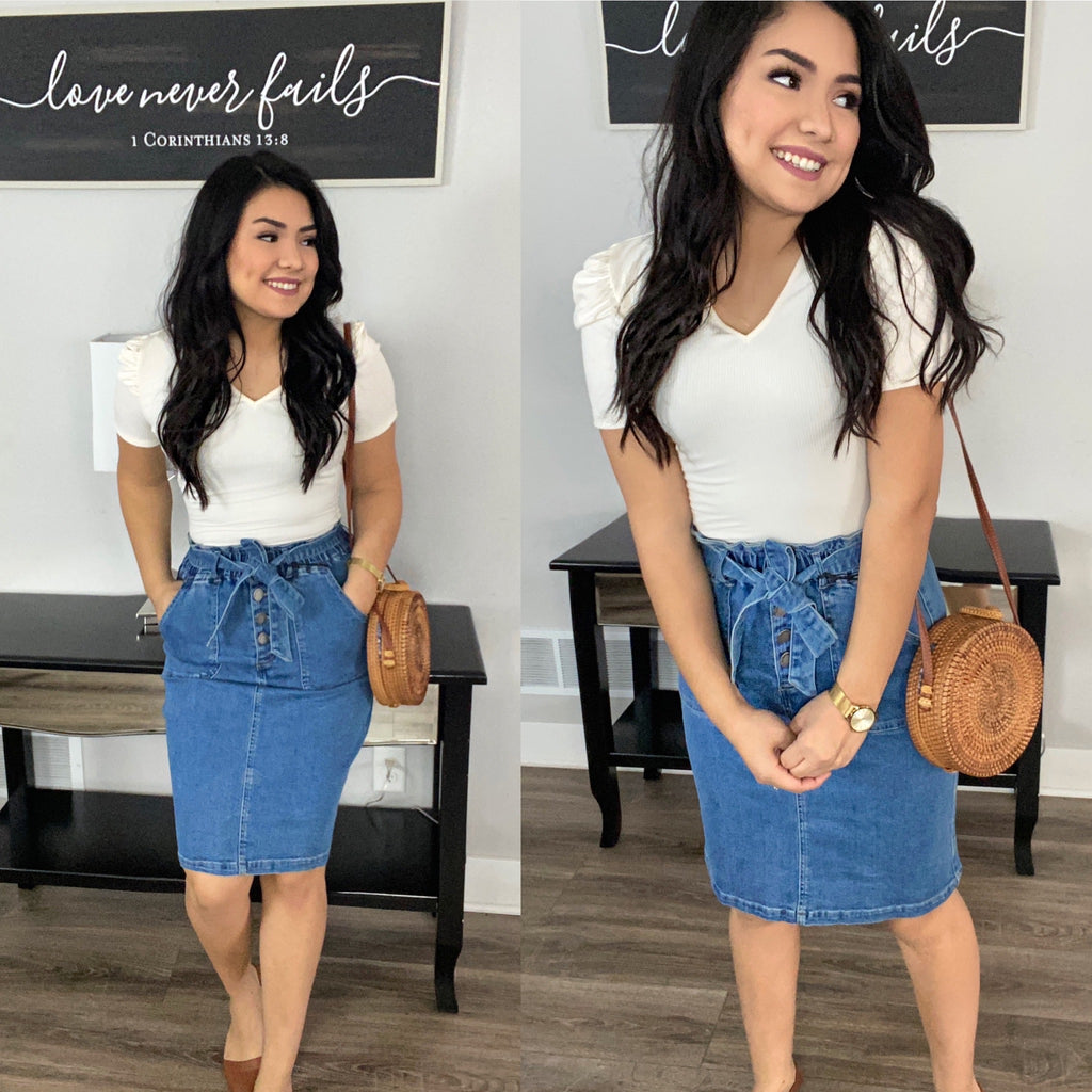 Denim Paper Bag Bow Tie Skirt - The Darling Style