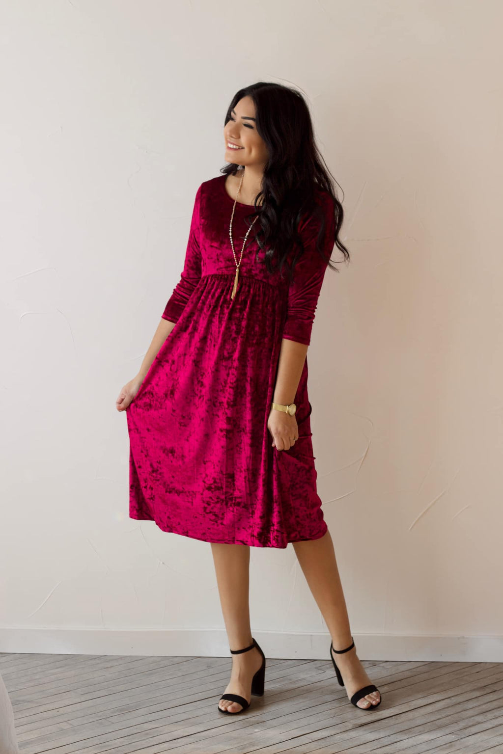Merry & Bright Velvet Dress - Red Wine (Pre-Order ships 12/4)