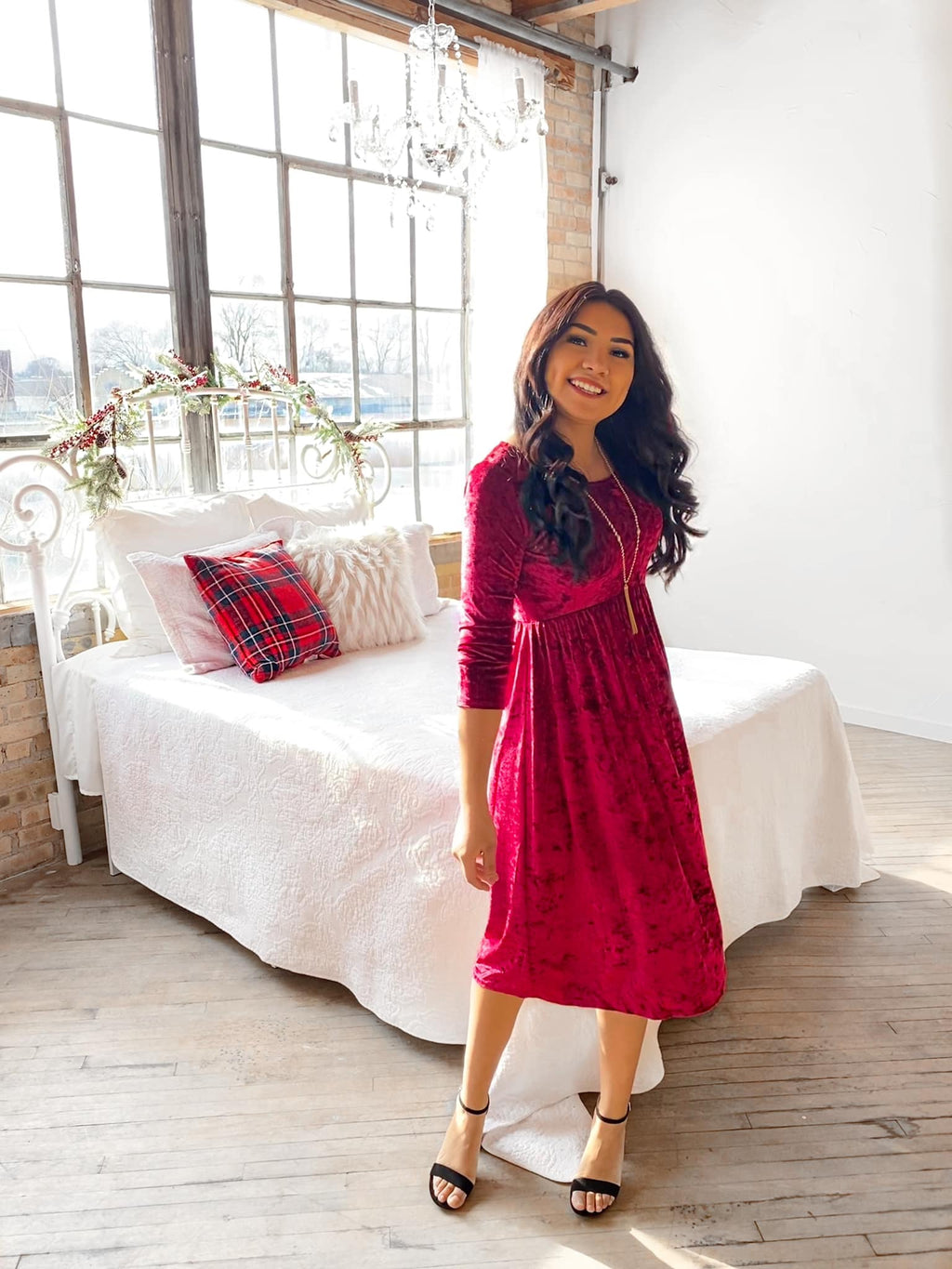 Merry & Bright Velvet Dress - Red Wine